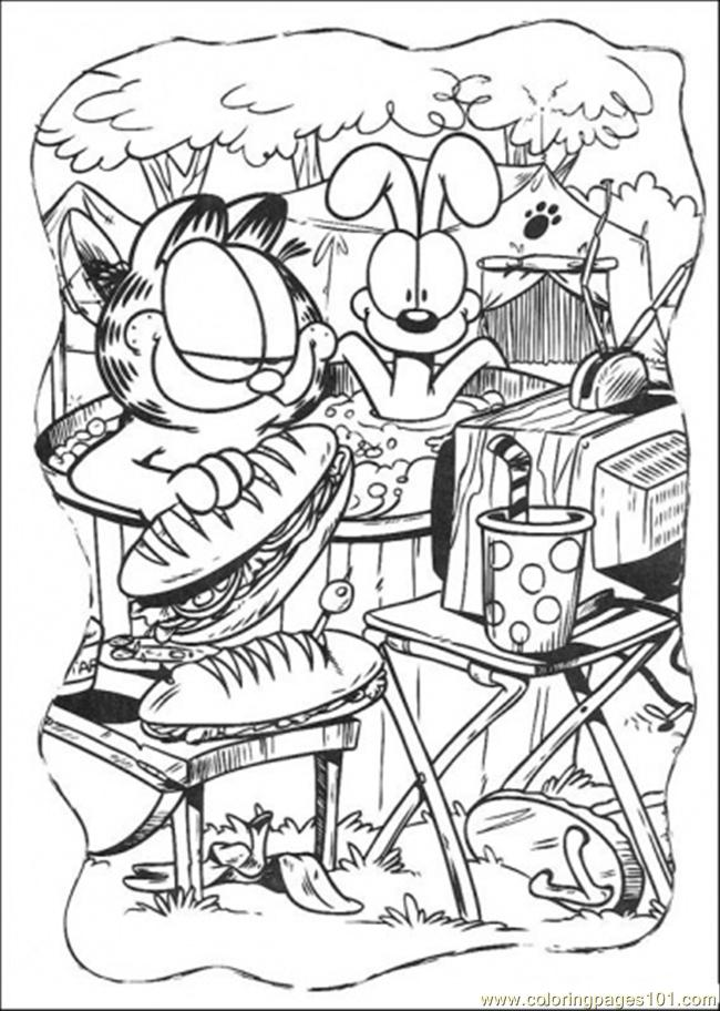 Garfield Coloring Pages Pdf : Coloring pages picnic cartoons gt garfield free