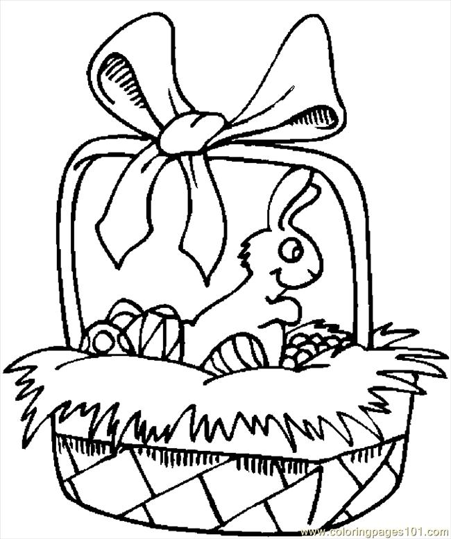 Pin Easter Basket Coloring Page Cartoon Bunny Drawing Just