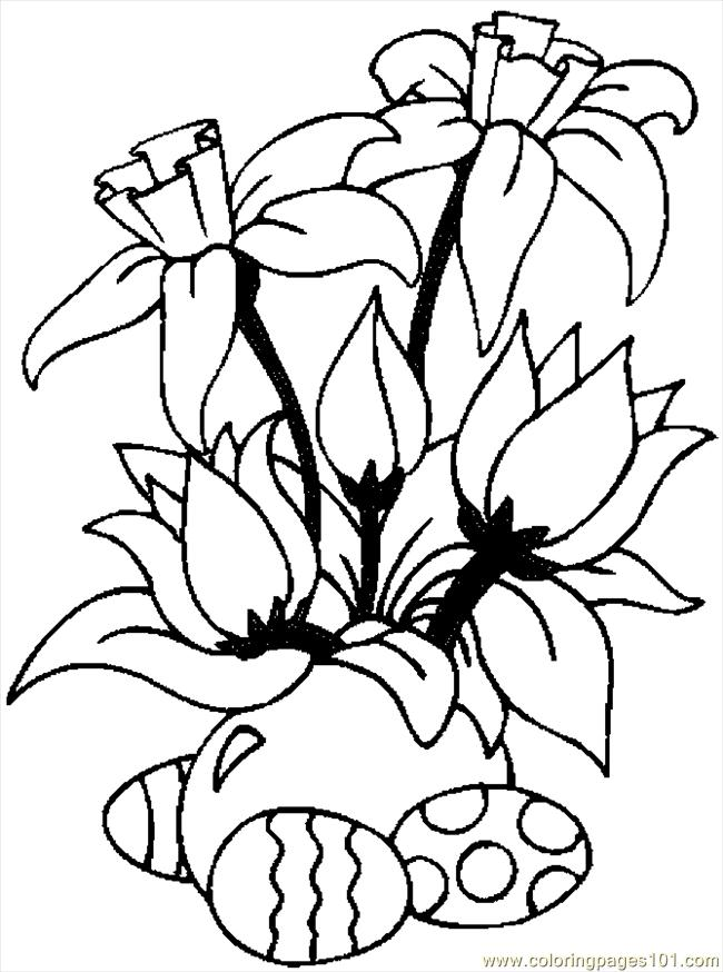 Coloring Pages Easter Eggs Amp Flowers Entertainment Gt Holidays