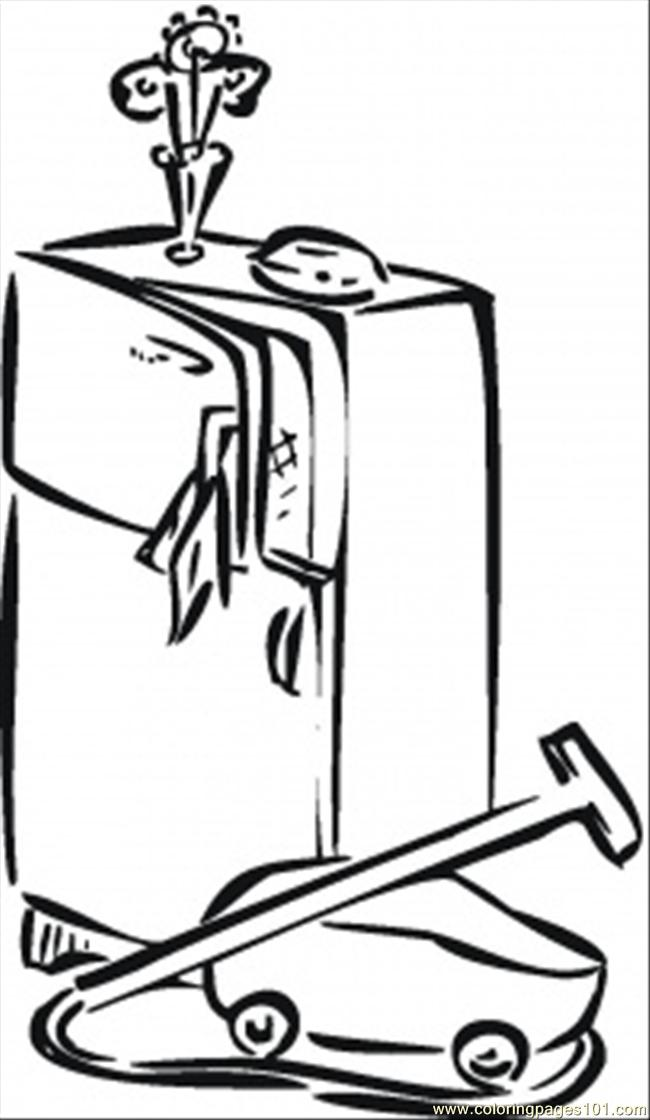 Coloring Pages Fridge And Vacuum