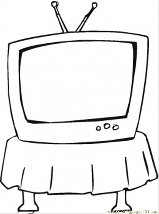 Coloring Pages Tv On The Table Technology Gt Home Television Coloring Page