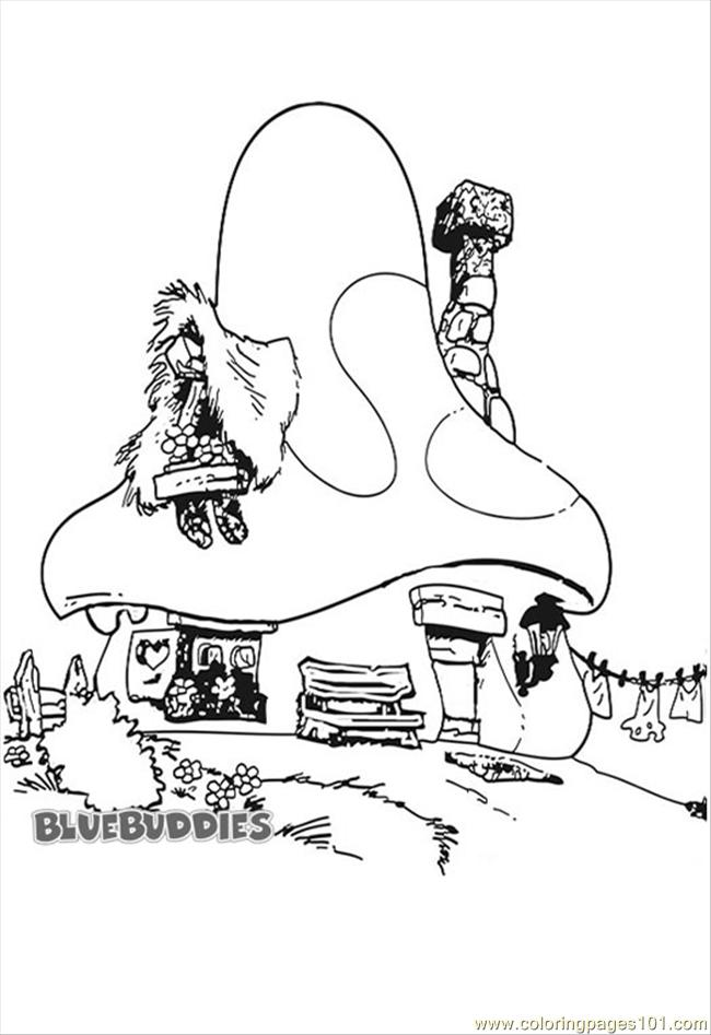 Coloring Pages Smurf House Coloring