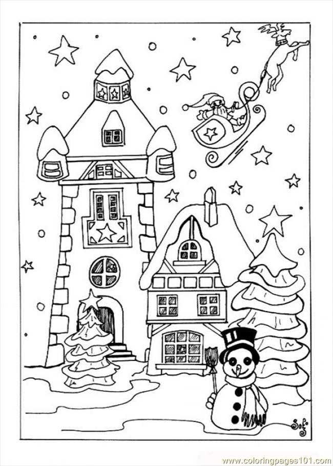 Coloring Pages Christmas Village Source Qfx Architecture Gt Houses