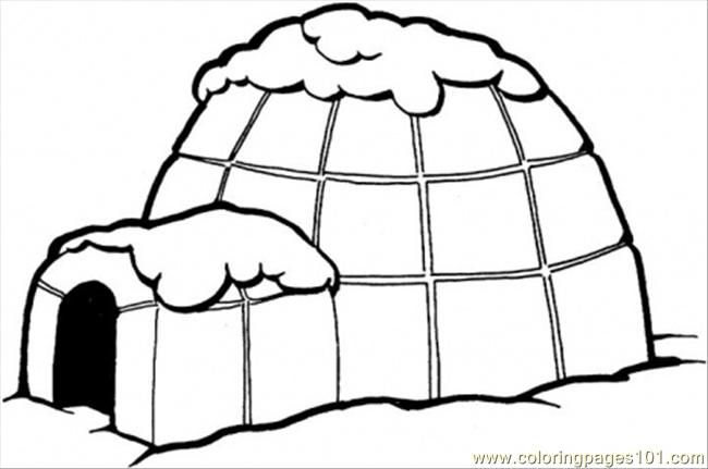 Coloring Pages Igloo Architecture Gt Houses Free Igloo Coloring Page