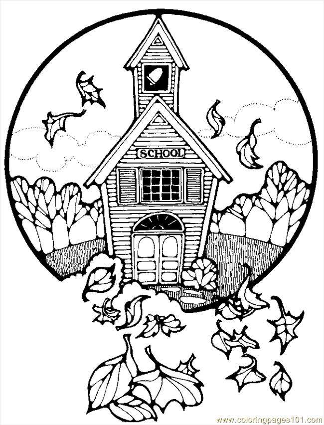 Free Coloring Pages Of A Schoolhouse School House Coloring Pages