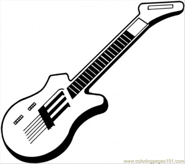 Coloring Pages Electric Guitar Entertainment Gt Instruments