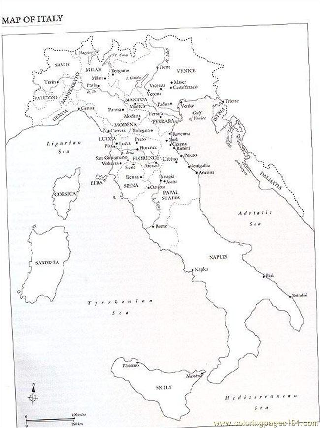 Coloring Pages Italy Map (Countries > Italy) - free printable coloring ...