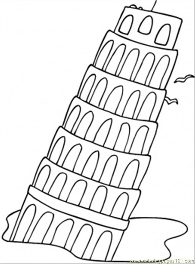 Falling Tower coloring page Free
