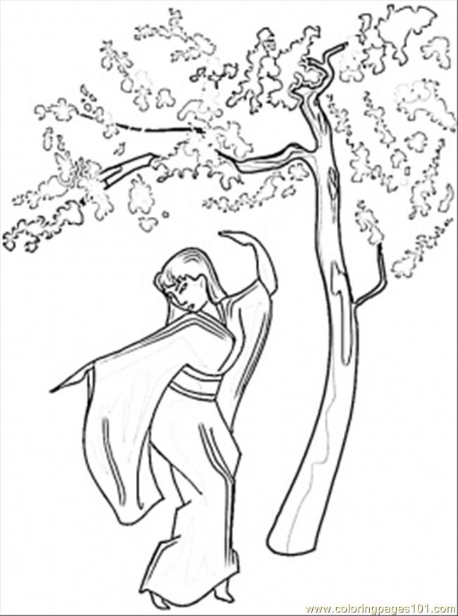 Coloring Pages Dance Under Sakura