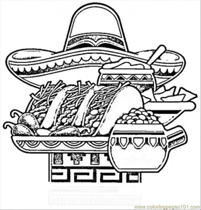 Coloring Pages Mexican National Food Countries Mexico