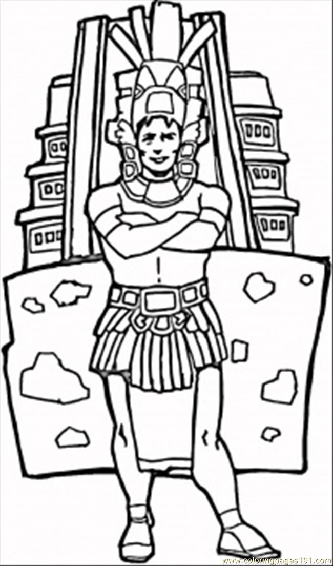 Coloring Pages Man Aztec Countries