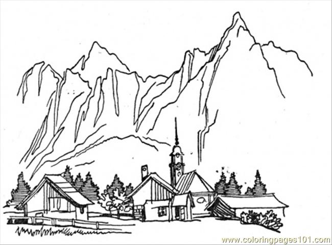Coloring Pages Village In The Mountains