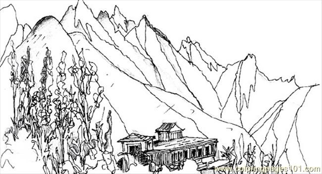mountain coloring page color sheets - Mountain Coloring Pages Printable