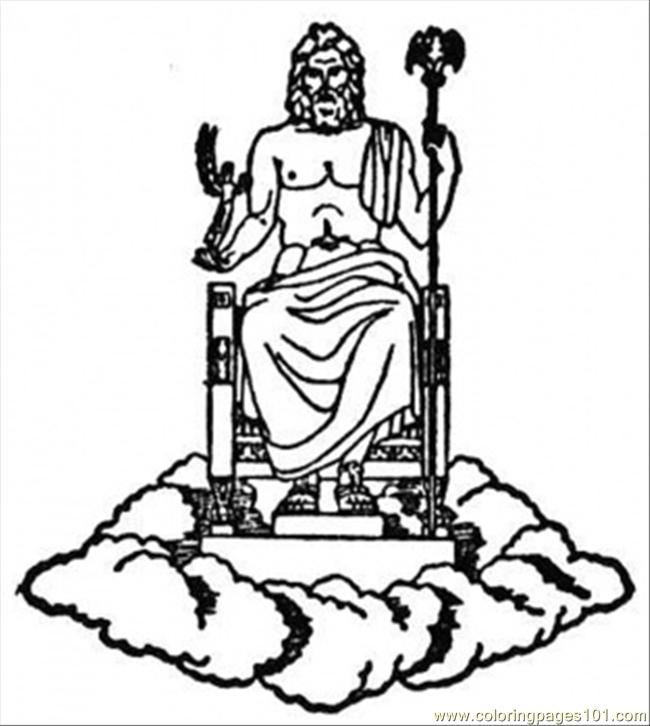 Coloring Pages Zeus : Free coloring pages of statue zeus