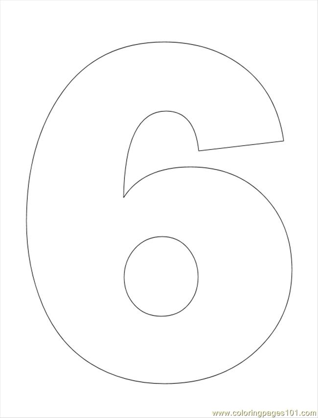 6 Number Colouring Pages