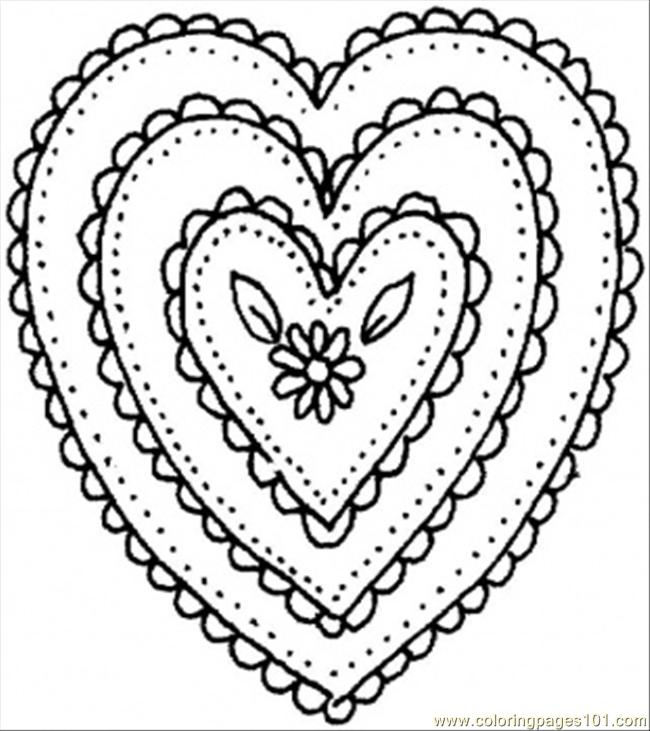 Love Heart Patterns Colouring Pages