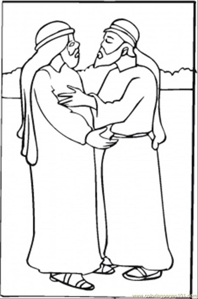 Free coloring pages for Jacob and esau reunite coloring page