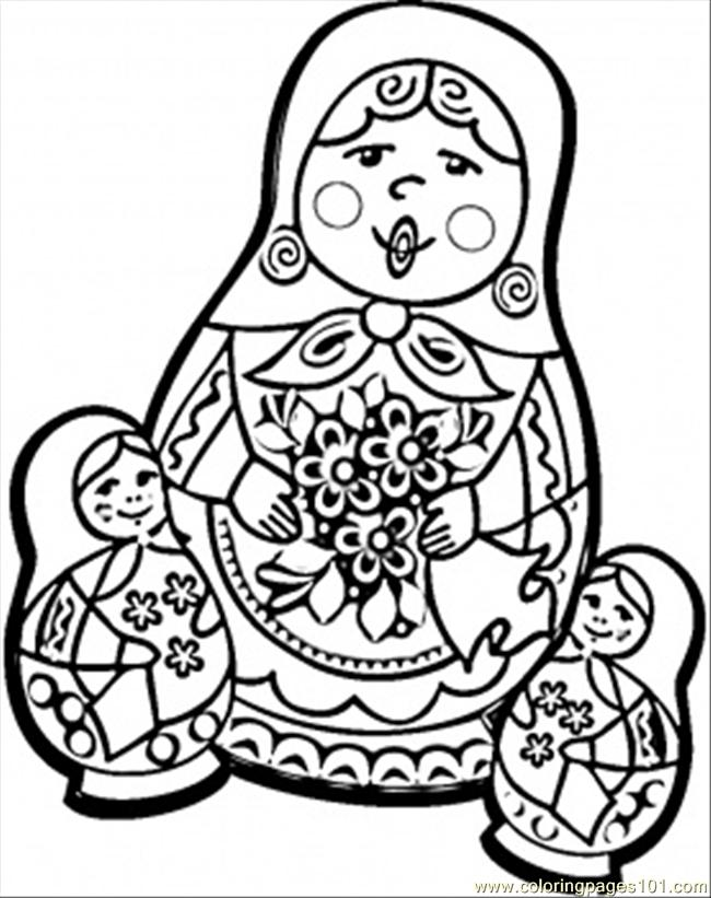 Coloring Pages Russian Dolls Countries