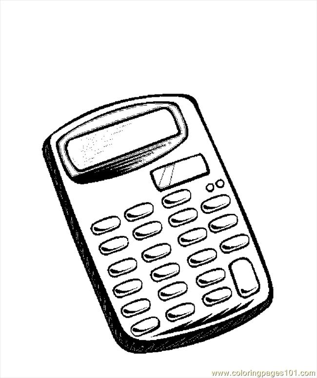 drawing of a calculator colouring pages