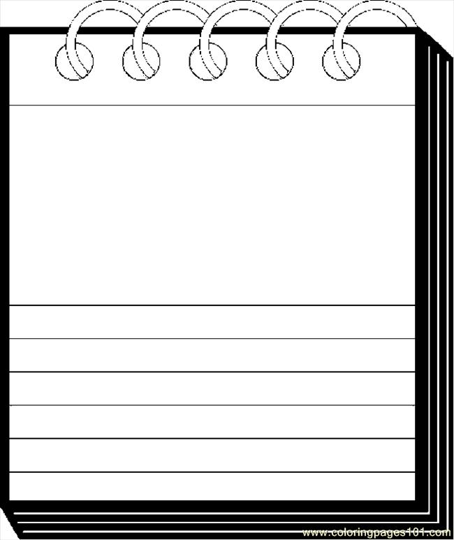 Coloring Pages Note Pad 3 Education Gt School Free