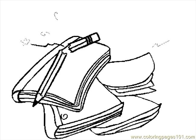 Notebook And Pencil Coloring Page Coloring Pages