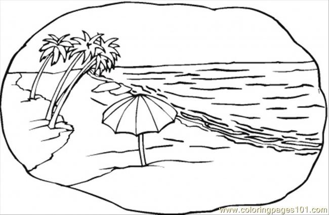 Coloring Pages Beach Scene Natural