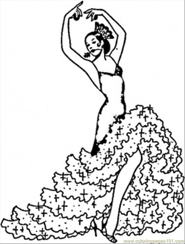 Coloring Pages Flamenco Girl Countries Gt Spain