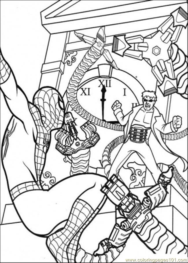 Coloring Pages Spiderman Hangs And Hits The Enemy ...
