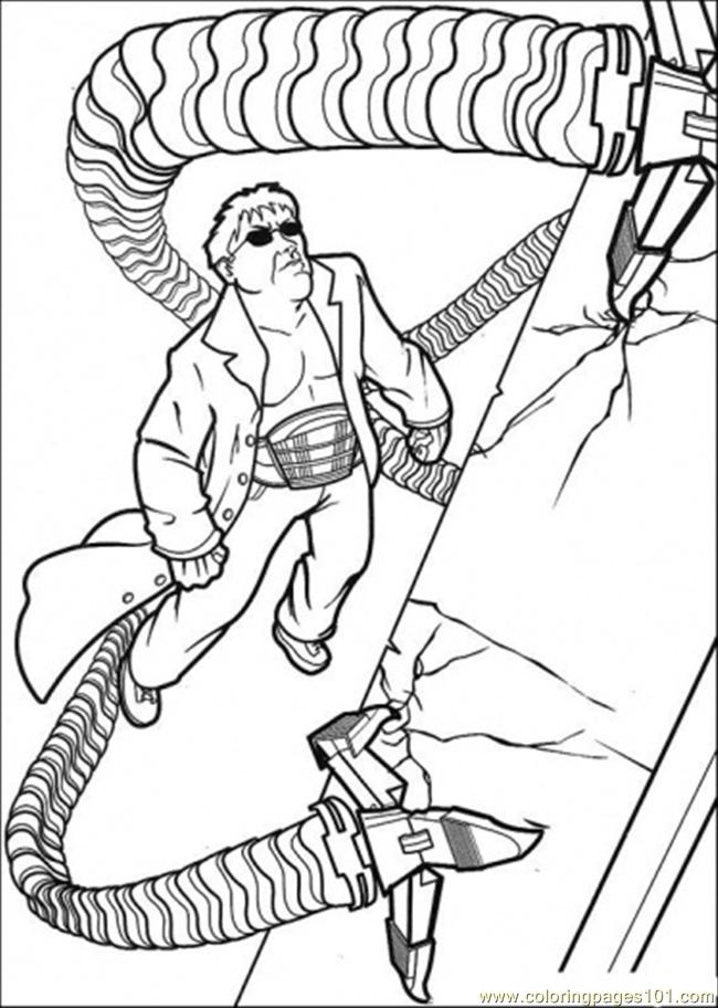 Coloring Pages Spiderman Climbing Building Free Pictures