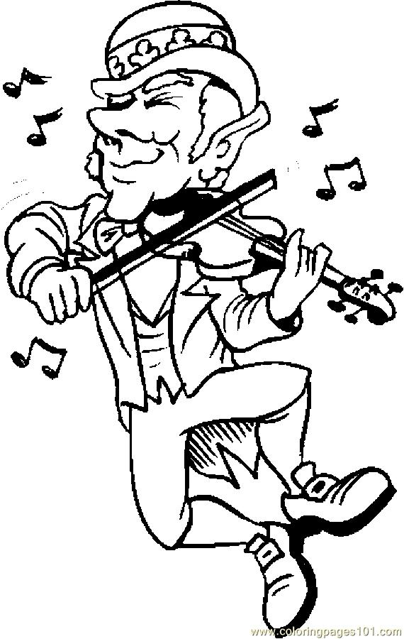 Coloring Pages Leprechaun Fiddling Holidays gt St Patrick