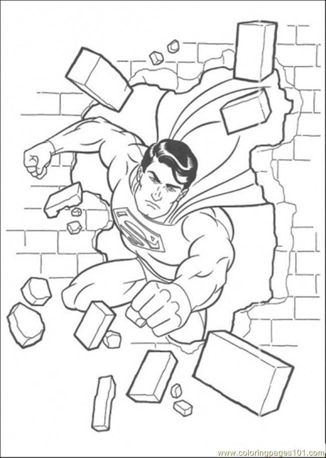 coloring pages superman has damaged the wall cartoons superman free printable coloring