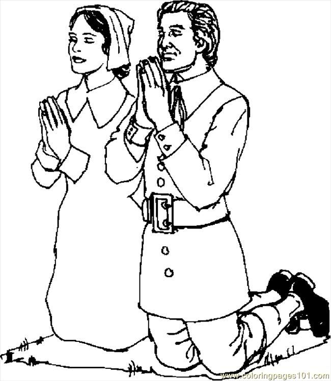Coloring Pages Pilgrims Praying 2 Holidays Gt Thanksgiving