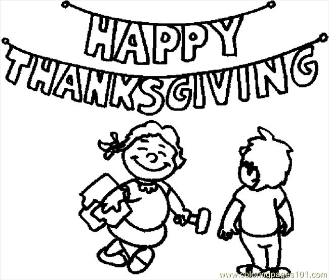 Coloring Pages Putting Up Sign (Holidays > Thanksgiving ...