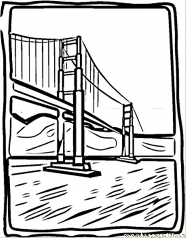 Coloring Pages Golden Bridge Countries Gt USA