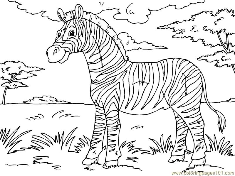 Cartoon zebra coloring coloring pages for Zebra color page